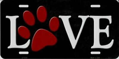 Love With Red Paw Print Metal license Plate 6 x 12