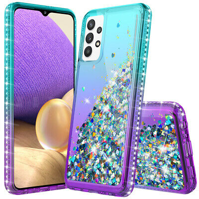 For Samsung Galaxy A10e A20 A30 A50 Bling Rubber Phone Case Cover-Tempered Glass