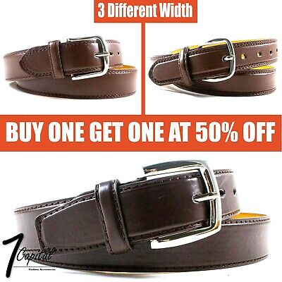 Mens Brown Genuine Leather Metal Buckle Causal Jean Dress Belt Size M L XL
