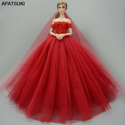 Red Fashion Dress For 11-5 Doll Clothes Outfits Party Gown Wedding Dresses 16