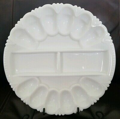 Rare Milk Glass Deviled Egg and Pickle Plate