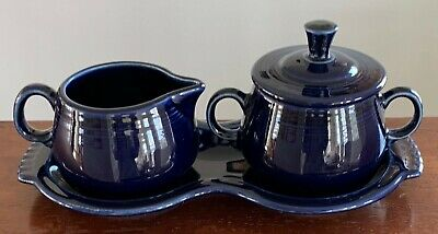 FIESTA Navy Dark Blue 4 Piece Tray Covered Sugar and Cream Set Fiestaware 5121C