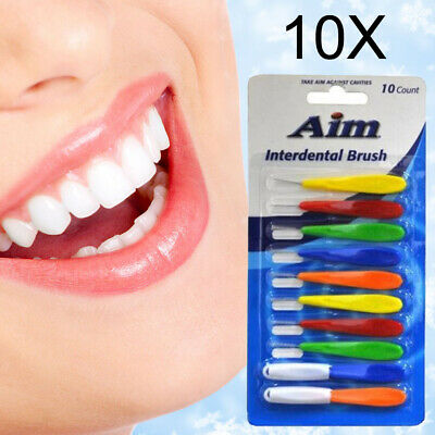 100 AIM Inter-dental Brushes Dental Brush Floss - 10 packs of 10- BNIP