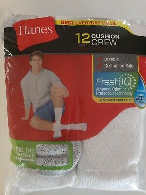 Hanes Mens 12 Pair Cushion Crew Socks Size 6-12 FreshIQ