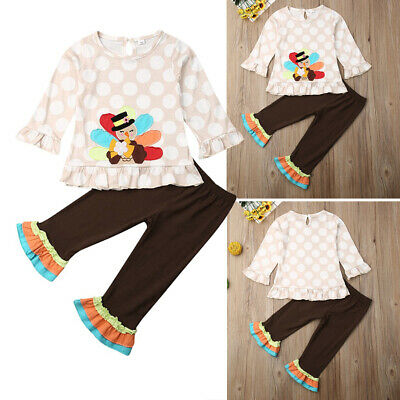 US Toddler Kid Girl Baby Shirt Top Long Pants Thanksgiving Day Outfits Clothes