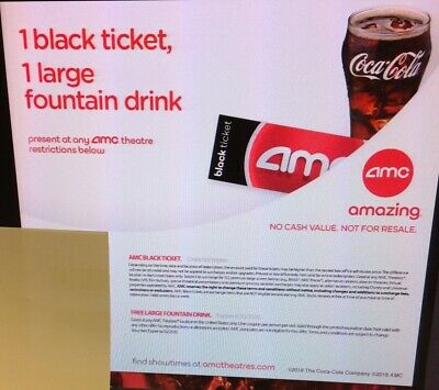 PURCHASE LIMIT 2 AMC Theaters Black Ticket and Drink