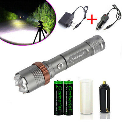 Tactical T6 LED 350000Lumens Flashlight Torch 5 Modes Brightest-2x18650 -Charger