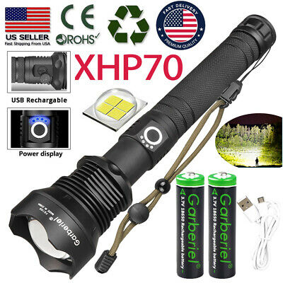 990000 Lumens Zoomable XHP70 LED USB Rechargeable Flashlight Torch Super Bright