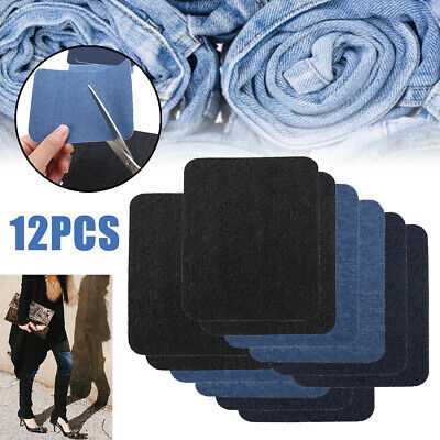 US 12 Jeans Patches Iron On Elbow Knee Denim DIY Sewing Appliques Decor Repair