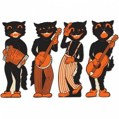 Vintage Halloween Scat Cat Band Cutouts 17 4 Pack Paper Halloween Decorations