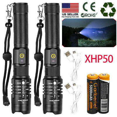 XHP50 500000LM Tactical Zoomable SWAT 18650 LED Flashlight Torch light US Stock