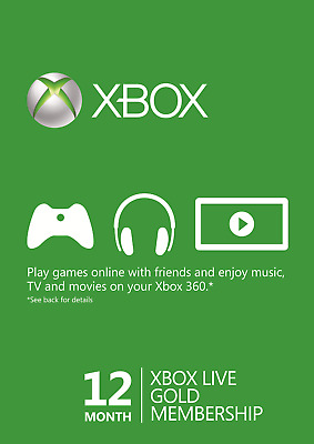 12 months XBOX LIVE GOLD 12 months membership - US REGION - instant delivery