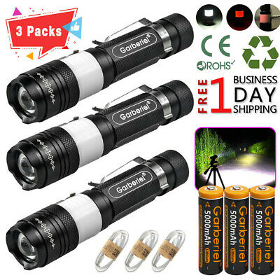 Garberiel 350000Lumens Zoom T6 LED USB Rechargeable 18650 Flashlight Torch Lamp