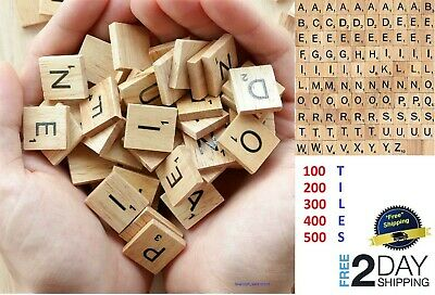 500 Scrabble Wood Tiles Pieces Full Sets 100 Letters Wooden Replacement Pick