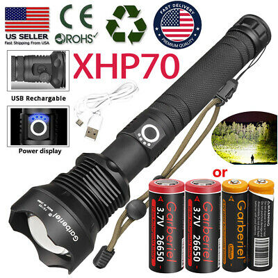 Tactical XHP70 Zoomable LED USB Rechargeable Flashlight Torch Powerful Light USA