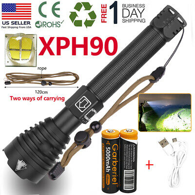 990000lm XHP90 LED Flashlight USB Rechargeable 18650 Powerful Zoom Torch Light