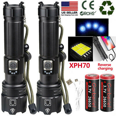 High Lumens XHP70 Super Bright LED USB1865026650 Rechargeable Zoom Flashlight