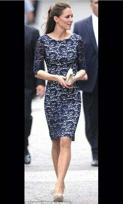 LK Bennett Wardour Dress Navy Lace Overlay Size 8 Kate Middleton RRP £350 Party
