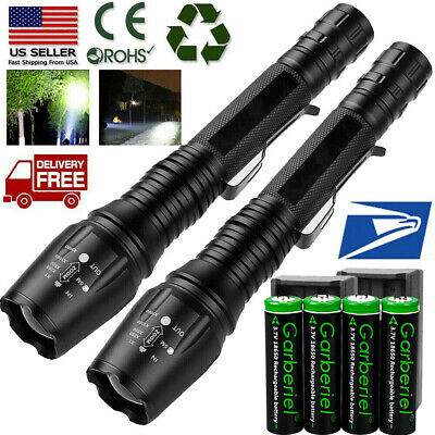 Tactical Police High Lumens 5 Modes 18650 T6 LED Flashlight Aluminum Zoomable US