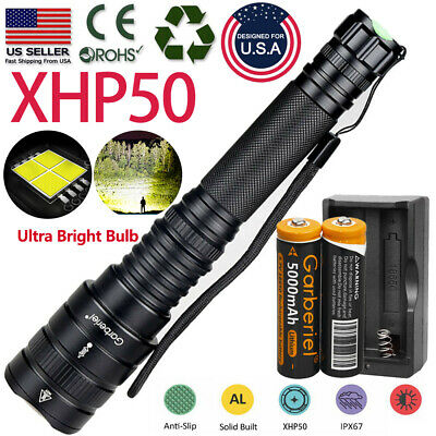 XHP50 900000Lumens Tactical Zoomable LED 18650 Flashlight Torch-Battery Powerful