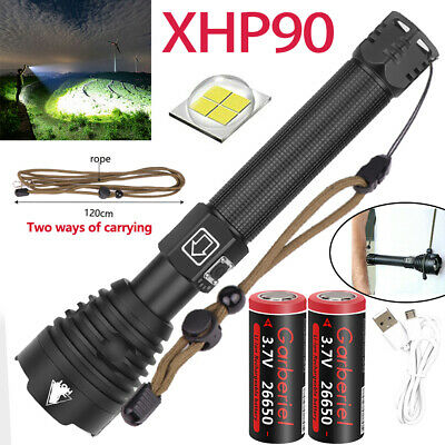 Powerful XHP90 LED Flashlight USB Rechargeable 18650 26650 Zoomable Torch Light