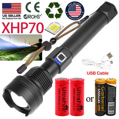Ultra Bright 990000LM XHP70 LED Flashlight Rechargeable Zoom Torch 1865026550