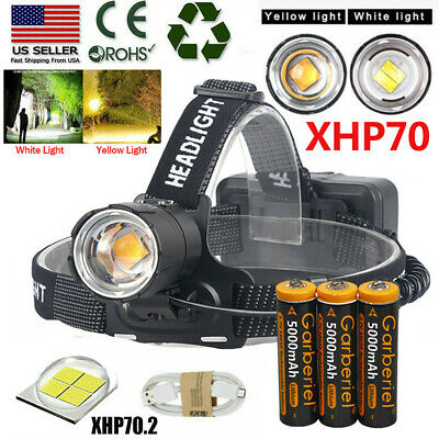 900000LM XHP70-2 LED Headlamp Zoom USB Rechargeable 18650 Headlight Ultra Bright