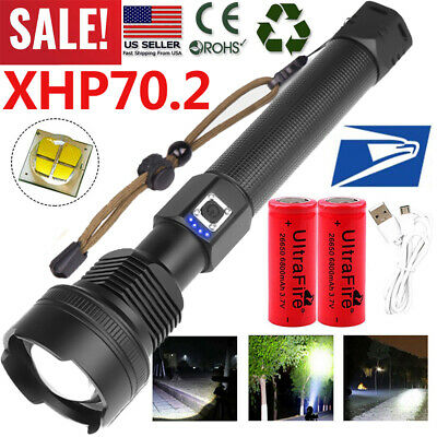 Tactical Police 990000Lumens XHP70 26650 T6 LED Flashlight Aluminum Zoom Torch T