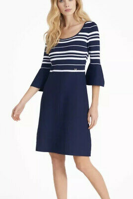 Luisa Spagnoli Cuatela Knit Dress Navy Stripe Nautical Bell Kate Middleton Med