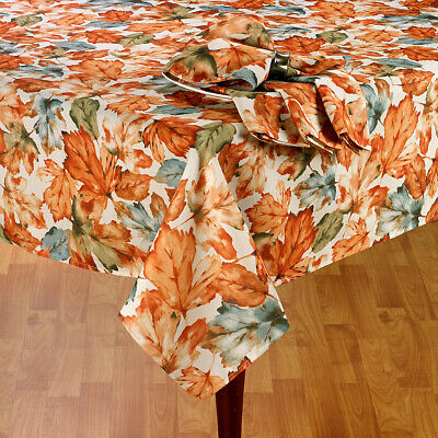 Thanksgiving Decor Tablecloth Scattered Leaves Watercolor Design 70 ROUND