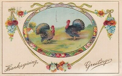 POSTCARD THANKSGIVING GREETINGS MADE IN GERMANY PM 1916 EMBOSSED