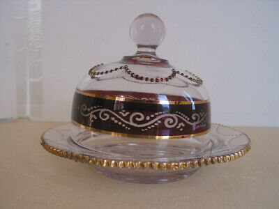 EAPG Ruby Stained Heisey 1295 Covered Butter Dish w Etched Scroll