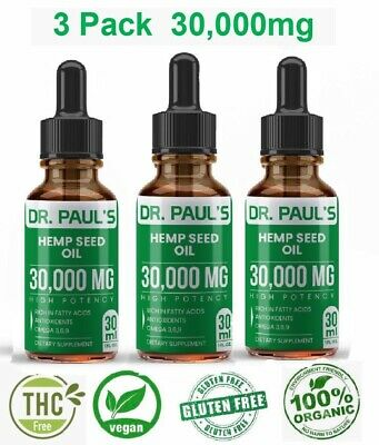3 Pack Hemp Oil Extract For Pain Relief Stress  Anxiety Sleep - 30000 mg