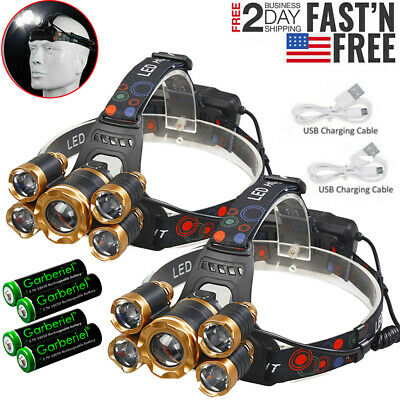 Powerful 5X T6 LED Headlamp USB Rechargeable 18650 HeadLight Flashlight Torch US