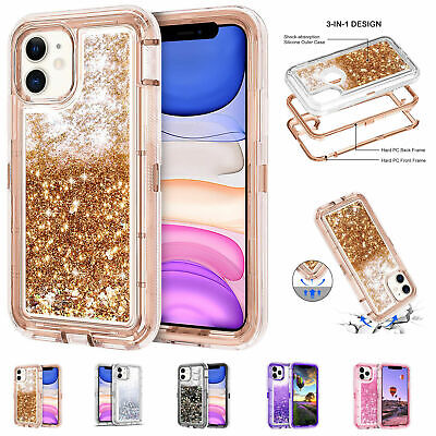 For iPhone 11  Pro  Max Glitter Liquid Quicksand Shockproof Bling Case Cover