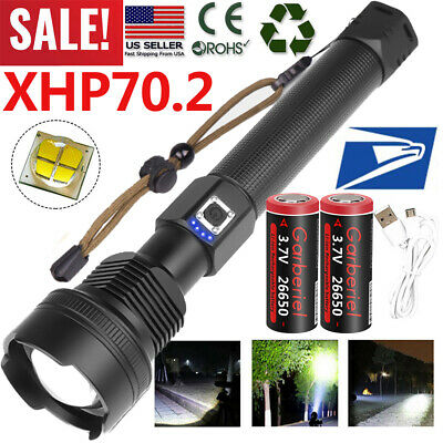 Tactical Police High Lumens XHP70-2 26650 T6 LED Flashlight Aluminum Zoom Torch