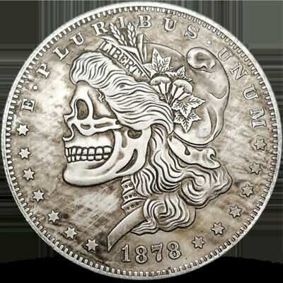 Commemorative Coin 1878 American Skeleton Morgan Skull Silver Dollar Shape New