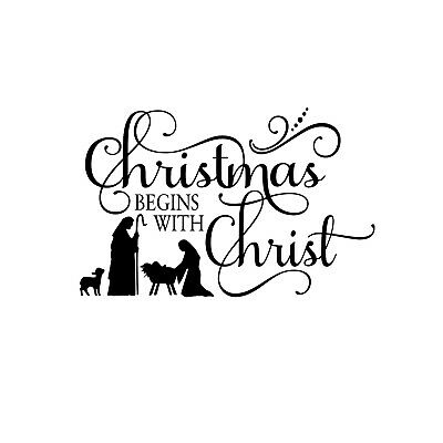 Christmas begins with Christ Unmounted Rubber Stamp - Religious Sentiment 26