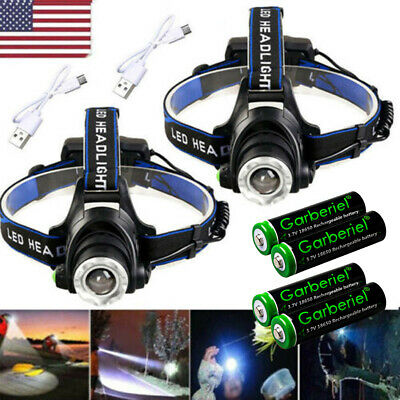 Powerful T6 LED Zoomable Headlamp USB Rechargeable 18650 Headlight Head Torch