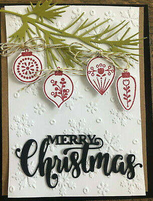 Stampin Up Set of 4 CHRISTMAS ORNAMENT cm stamps - SNOWFLAKES Embossing folder