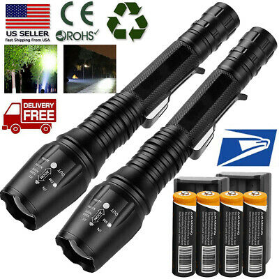 Tactical Police High Lumens 5 Modes 18650 T6 LED Flashlight Aluminum Zoom Torch