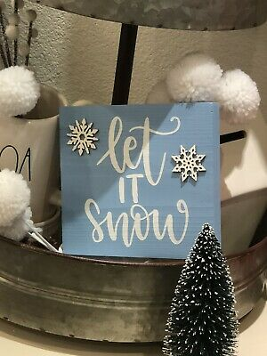 Let It Snow Wood SignTiered TrayRae Dunn InspiredChristmas Decor