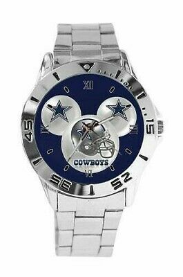 DALLAS COWBOYS NFL Mickey Mouse Design Stainless Steel Link Silver Analog Watch