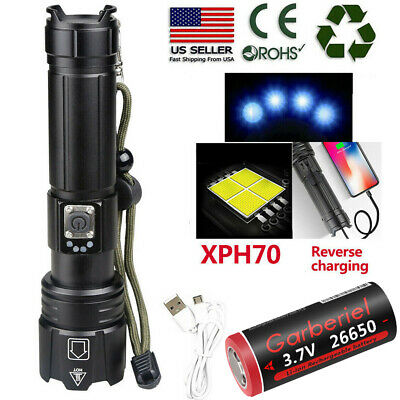 High Lumens Zoomable XHP70-2 5Modes LED USB Rechargeable 18650 26650 Flashlight