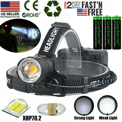 Ultra Bright Powerful XHP70-2 LED Headlamp Zoom USB Rechargeable 18650 Headlight