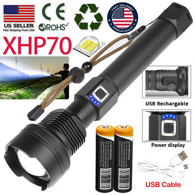Ultra Bright Powerful 18650 XHP70-2 LED Flashlight USB Rechargeable Zoom Torch
