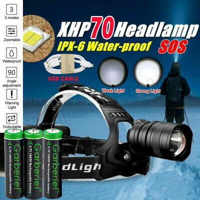 Powerful XHP70 LED Headlamp Zoom USB Rechargeable 18650 Headlight Torch Light
