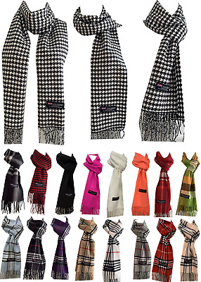 Winter Womens Mens 100 Cashmere Wool Wrap Scarf Scotland Made Plaid Scarves