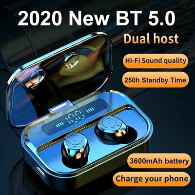 Wireless Earbuds Bluetooth 5-0 Headset HiFi Stereo Headphones For iPhone Samsung