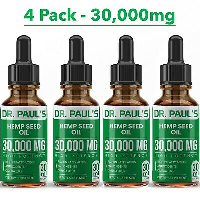 Hemp Oil Extract For Pain Relief Stress  Anxiety Sleep - 4 PACK 30000 mg